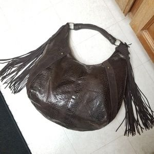 Large Fringe Hobo Bag EXPRESS brown purse satchel